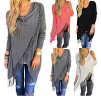 Wholesale Womens Tank Dresses - Europe Long Sleeve T-shirt Sexy Tank Tops for Women T shirts Tassel Women Clothes Dresses for Womens 2017 New Hot Women's Fringe Cardigan