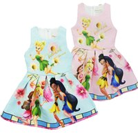 Wholesale Girls Dresses Tinker Bell - Tinker Bell Girl Pleated dress 2017 new summer cartoon kids Tinker Bell Pleated dress for 3-8 age 2 color XT