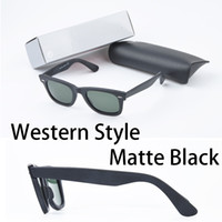 Wholesale Western Style brand Sunglasses Brands for women men Europe style classic matte black square UV400 mens big angle sunglasses with box