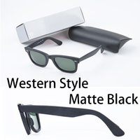 Wholesale Matte Glasses - Western Style brand Sunglasses Brands for women men Europe style classic matte black square UV400 mens big angle sunglasses with box