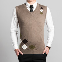 ingrosso gilet di maglione-All'ingrosso-Ultimo disegno moda fashion design scollo a V senza maniche mens maglia in lana argyle