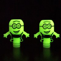 Wholesale Despicable Dhl - Luminous Minions 510 Drip Tip Green in night White in day Plastic Wide Bore Drip Tip Despicable Me Shape Drip Tips DHL Free