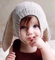 Wholesale Baby Photo Props Knit - 4 Color INS Autumn Winter Toddler Infant Knitted Baby crochet Hats Adorable Rabbit Long Ear Hat Baby Bunny Beanie Caps Photo Props B