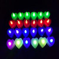 rote kerzen herzform großhandel-Multi Farben führten Kerzen-Teelichtherz geformtes Nachtlicht rotes grün-blaues buntes für Parteigeschenkdekoration des Hochzeitsvalentins