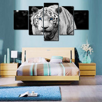 Wholesale Tiger Abstract Canvas - 5pcs set Unframed Walking Tiger Blue eyes Animal Painting Wall Art Oil Painting On Canvas Textured Paintings Picture Living Room Decor