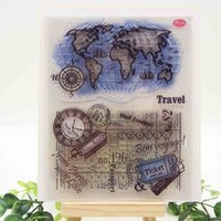 Wholesale Global Supplies - Wholesale- Global Travel Transparent Clear Silicone Stamps for DIY Scrapbooking Card Making Kids Crafts Fun Decoration Supplies