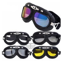 Wholesale Ski Helmet Glasses - 5 Styles Harley Goggles Glasses Motorcycle Bicycle Goggles Scooter Pilot Ski Helmet Goggles Safety Eyewear Eyes Protector LJJP201