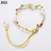 Wholesale Shell Bracelet Kids - Wholesale- JINSE SS002 Handmade Fashion Snail Shell Beads Bracelets Kid' Bracelets Conch Shells Friendship Bracelets StylesSent At Random