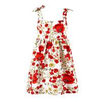 ingrosso ponticello da spiaggia-Rose Flower Girls Summer Dress Bambini Beach Clothes Fashion Summer Backless vestido Kids Jumper Brace Abiti di un pezzo