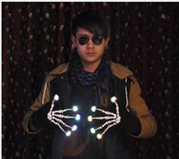 guantes negros para niños al por mayor-Halloween Christmas Skull Gloves Tejido suave Five Fingers Gloves Black Bar Party Cosplay novedad Regalos de Navidad para adultos y niños