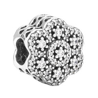 Wholesale Pandora Charms Fairy - Authentic 925 Sterling Silver Bead Charm Openwork Fairy Tale Bloom With Crystal Beads Fit Women Pandora Bracelet Bangle DIY Jewelry HKA3691