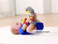 Wholesale Ladybird Ring - Wholesale- Retail 2pcs lot infant baby toys new style animals bees + ladybird Wrist Rattles with ring bell for learning&education 2014