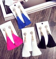 New Arrival Mulheres Elegante Moda Rhinestone Longo Tassel Dangle Brincos Fringe Drop Earrings Ear Ear Stud
