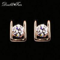 Wholesale Rhodium Stud Earrings - Simple OL Style AAA+CZ Diamond Stud Earrings Silver Color Rose Gold Plated Fashion Party Wedding Crystal Jewelry For Women Girls DFE216