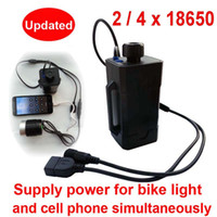 Wholesale Dc Bike Battery - New Waterproof 18650 battery box case for bike light bicycle lamp power bank box for phones with DC USB Dual ports