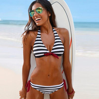Wholesale Brazillian Bikinis - 2017 Sexy Bikinis Women Swimsuit Swimwear Female Halter Top Plaid Brazillian Bikini Set Bathing Suit Summer Beach Wear Biquini FS0442