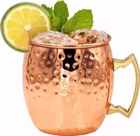 Wholesale Drum Handles - 16oz Moscow Mule Copper Plated Mug Cups Stainless Steel Hammered Copper Mug Drum Cocktail Drink Cups with Copper Handles