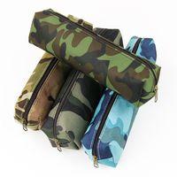sacos com zíper para lápis venda por atacado-Atacado-1 Pcs Camuflagem Lápis Material Escolar Colorido Bolsa Com Zíper Material De Escritório Lápis Saco
