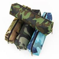 ingrosso borse per cerniere per matite-Wholesale-1 Pz Camouflage Astuccio per scuola Forniture per scuola Borsa con cerniera colorata Forniture per ufficio Borsa per matita