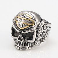 Wholesale Skull Rings Lady - stainless steel HARLEY RIDER Cool Skull Punk Davidson locomotive male Ladies Ring Wholesale