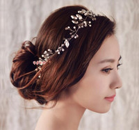 decoração casamento ornamentos venda por atacado-Novas Mulheres headband enfeites de cabelo artesanal pérola jóias casamento decoração de cristal Festival Presentes acessórios da festa de casamento