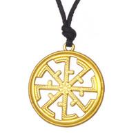 Wholesale Old Fashioned Necklaces - Fashion Slavic Paganism Kolovrat Slavonic Pendant Bijouterie Power Solstice Sunwheel Rope&Link Necklace Symbol Talisman Old Slavs Free Ship