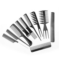 Wholesale Comb Set Hairdressing - Beauty tools hairdressing combs 10 piece sets, foreign trade combs,black suits