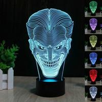 regalos de boda de cerámica al por mayor-Batman Joker 3D LED Luz Nocturna 7 Colores Lámpara de Mesa de Escritorio Regalos de Noche de Acrílico Luz de Colores Decoración Del Partido en Casa