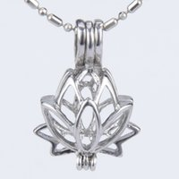 Wholesale Wholesale Lotus Flower Jewelry - 5pcs silver plated Lotus flower shape cage pendant 15*8*21mm Fashion Charm Jewelry