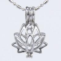 Wholesale Lotus Charm Wholesale - 5pcs silver plated Lotus flower shape cage pendant 15*8*21mm Fashion Charm Jewelry