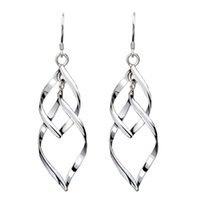 Wholesale Vintage Sterling Silver Chandelier - Hot 925 sterling silver jewelry free shipping long leafs silver shaped earrings charms ethnic vintage earrings