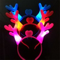 Wholesale lovely invitations for sale - Group buy LED Light Headband Party Supplies Lovely Antler Hair Band For Children Gift Hairs Hoop Multi Color fh C R