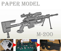 Wholesale Sniper Paper - Wholesale-3D Paper Model M200 Sniper Rifle Handmade DIY Paper Gun toy 1:1 Firearms Finished Length 120cm Cosplay for War Game Puzzle Toy