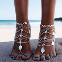 Wholesale Vintage Toe Rings - Vintage Cheap Barefoot Beach Sandals For Weddings Silver Anklets Chain Gold Coin Tassels Toe Ring Beading Bridal Bridesmaid Foot Jewelry