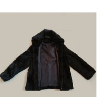Wholesale Hooded Genuine Rabbit Fur Coat - Black Real Rabbit Fur Coat for Man Fashion Warm Jacket Men's Clothing Genuine Fur Hooded Overcoat Causal Men Outwear
