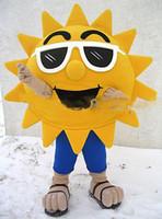 Wholesale Mascot Sunglasses - Classic mascot costume Summer Beach Sunshine Cool Joyful Sunglasses Sun Mascot Costume Custom Cartoon Character Mascotte Suit Kit Fancy Dres