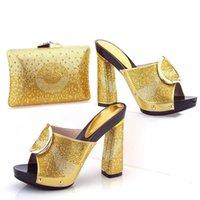 Wholesale Party Sandals Online - VIVILACE African Woman Heels With Bag Luxury Rhinestone Adult Sandals Shoes Pumps Matching Bag Set Online P54 gold