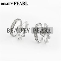 Bulk 3 Pairs Stud Earring Configurações de Jóias DIY Findings Clear Cúbico Zirconia 925 Sterling Silver Blank Base
