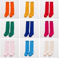 Wholesale Korea Baby Socks - Korea Baby Socks Baby Boy Girl Kids Sock Cotton Lace Knee High Socks Children Middle Lace Socks Footwear Knitted Leg Warmers 3 Size