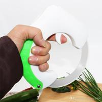 et bıçakları toptan satış-Haddeleme Bıçak Yeşil Çok Fonksiyonlu Pratik Et Aşçı Kıyıcı Kaymaz Bıçaklar Yuvarlak Dilimleme Piknik Kamp Mutfak Aracı 15 5xx R