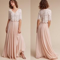 Wholesale two piece fake dresses - Hottest 2017 New Fake Two Pieces Lace Chiffon Bridesmaid Dresses Custom Made Sheer Half Sleeves Long Maid of Honor Gowns Plus Size