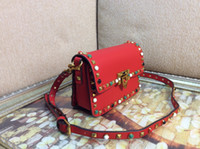 Wholesale Cheap Red Handbags - Fashion colorful stud rolling small cross body shoulder bag women red small handbag Fashion bags cheap crossboy bag