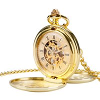 Wholesale Pocket Watch Gold Hunter - Wholesale-Fashion Chain Cool Hand Wind Mechanical Pocket Watch Vintage Simple Full Gold Color Roman Numeral Double Hunter Relogio De Bolso