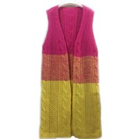Wholesale Crochet Sweater Sleeveless - Wholesale- Fashion Autumn&Winter Knitted Crochet Sweater for Women Long Twisted cardigan Open stitch sleeveless female sweaters plus size