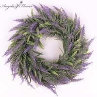 Wholesale Fresh Wreaths - Artificial flowers silk lavender wreath romantic fresh style weeding decoration for heads take photo fashion single product