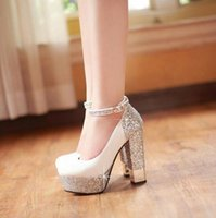 Wholesale Pumps Glitter White - HOT! 2017 European American Fashion Women leather high-heeled shoes thick with straps Korea heels wedding shoes Size :34-39