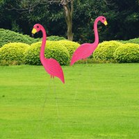 Wholesale Yard Stakes - Wholesale- New 1PAIR 90x35cm Pink Flamingos Plastic Art Ornaments Retro Stakes For Yard Garden Lawn Wedding Ceremony Decoration