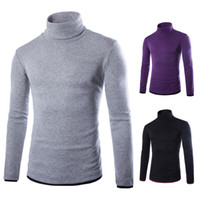 Wholesale false knitting - Wholesale- Free ship 2015 spring new Slim fit false two casual men's sweater high collar full sleeve keep warm knitted Sweaters
