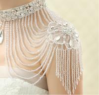 Wholesale Wedding Dresses Round Neckline - Fashion Ladies  Women Wedding Shoulder Necklace With Tassel Crystal Rhinestone High Neckline Women Wedding Dress Accessories