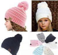 Wholesale Lace Headbands Caps - Winter Kids Knit Hats Boys Girls Woolen Beanie Children CC Hats Toddler Knitted Warm Caps Crochet Hat